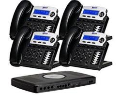 Small X16 Office Phone System With 4 Charcoal X16 Telephones - Auto Attendant Voicemail Caller Id Paging & Intercom