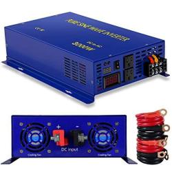 Xyz Invt 3000W Pure Sine Wave Power Inverter 24V Dc To 120V Ac With 2 Ac Outlets 2 Sets Of Battery Cables Power Converter