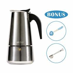 Elabo Stovetop Espreeso Machine And Moka Pot For Gas Or Electric Ceramic Stovetop Italian Espresso Coffee Shot Maker For Italian Espresso Cappuccino And Latte