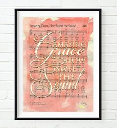 Amazing Grace How Sweet The Sound -vintage Hymnal Book Of Worship Page  Christian Art Print Unframed Hymn Sheet Music Watercolor | R600 00 |