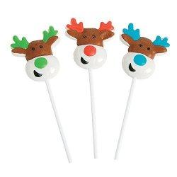 Fun Express Reindeer Character Holiday Christmas Suckers - 12 Piece
