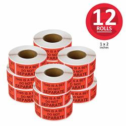 Enko - This Is A Set Do Not Separate Packaging Labels 1 X 2 Inch Fluorescent Red Fba Label 12 Roll 6000 Labels