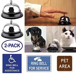 2-PACK Call Bells Desk Bell Office Service Hand Chime Loud Ring Classroom School Teacher Hotel Restaurant Elderly Home Kitchen Table Train Dog Kids Game