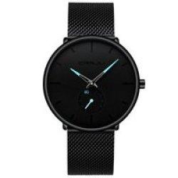 Crrju 2258 Mens Minimalist Milanese Mesh Watch - Black And Blue