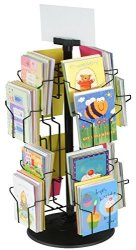 Greeting Card Rack With 16 5 X 7 Pockets For Countertops Rotating Design - Black Wire Construction With Plastic Base