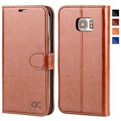 OCASE Galaxy S7 Edge Case Leather Wallet Flip Case For Samsung Galaxy S7 Edge - Brown