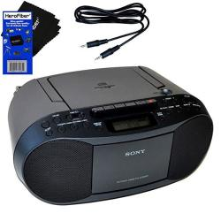 EWarehouse Sony Compact Portable Stereo Sound System Boombox With MP3 Cd Player Digital Tuner Am fm Radio Tape Cassette Recorder Headphone Output & 3.5MM Audio Auxiliary