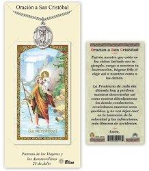 Pewter San Cristobal Medal With Laminated Holy Prayer Card