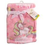 LITTLE ONE - Unicorn Generic Baby Flannel Fleece Pink