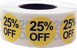 InStockLabels.com 25% Percent Off Stickers Yellow With Black Lettering 3 4 Inch 500 Adhesive Labels