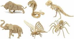 Diy 3D Wooden Animal Puzzles Set Of 6 Bull Butterfly Cobra Dinosaur Elephant Spider