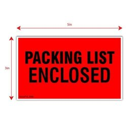 "Kenco 3"" X 5"" Packing List Enclosed Shipping Label Stickers For Shipping And Packing - 500 Adhesive Labels Per Roll"