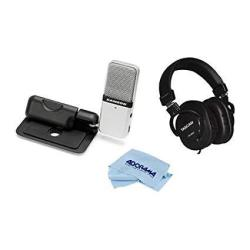Samson Go MIC USB Microphone For Mac And PC Computers Silver Kit - With TH-MX2 Mixing Over-ear Headphones Microfiber Cloth