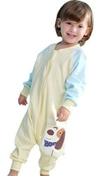 Cyuuro Early Walker Toddler Wearable Blanket With Legs And Arms Yellow Medium