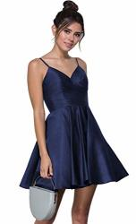 SATIN A Line Spaghetti Strap Pleated Prom Dress Short Homecoming Dresses Navy Blue With Pockets Size 2