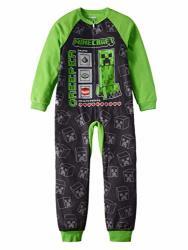 GBG USA INC. Minecraft Pajamas For Boys Creeper Stats And Mats Blanket Sleeper Large 10 12