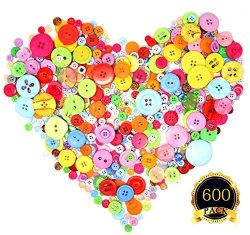 COMEMAKA 600 Pieces Craft Diy Buttons Decorative Sewing Buttons Assorted Buttons Resin Round Buttons 4 Holes And 2 Holes Assorted Colors And Sizes