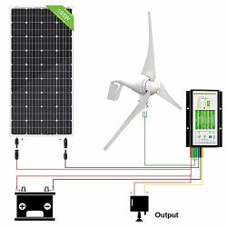 ECO-WORTHY 400W Wind Turbine Generator + 195W Monocrystalline Solar Panel For Off Grid 12 Volt Battery Charging