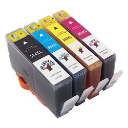 GREENSKY Compatible Hp 564 564XL Ink Cartridges For Hp Printer Photosmart 7510 7515 7520 7525 6515 6512 6510 6520 5514 5515 5510 5520 1LARGE Black 1CYAN 1MAGENTA 1YELLOW - 4 Pack