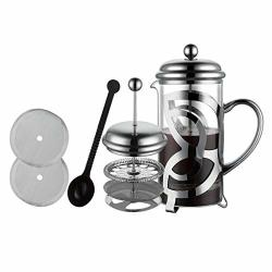 Miuly French Press Coffee Maker 304 Grade Stainless Steel & Heat Resistant Borosilicate Glass 1 Liter 34OZ Gift Set With Coffee Measuring Spoon & Two Filter Screens CT-0031
