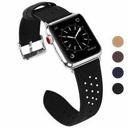 0808728a205 Fullmosa Compatible Apple Watch Band 38MM 42MM Breeze Leather Band  Compatible Iwatch Series 3 Series 2 Series 1 42MM Black