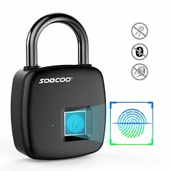 Fingerprint Padlock Keyless Biometric Padlock Smart Lock Soocoo P30 Gym Lock For Locker Stainless Steel Long Standby Time USB Charge For School Locker Door