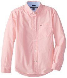 Tommy Hilfiger Boys 8-20 Tommy Hilfiger Big Boys' Long Sleeve Classic Woven Pink Lemonade Large