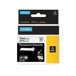 "E7QYL Dymo Industrial Permanent Labels For Dymo Labelwriter And Industrial Label Makers Black On White 3 4"" 1 Roll 18484"