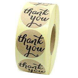 """Hybsk Tm 1.5"""" Round Brown Kraft Paper Thank You Stickers With Heart Adhesive Label 800 Per Roll"""