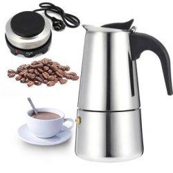 Espresso Moka Coffee Maker Pot Percolator Stainless Steel Electric Stove Electric Coffe... Type: B