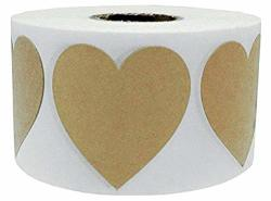 Wootile 2 Large Natural Kraft Heart Shape Stickers 500 Total Adhesive Labels