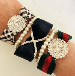Rhinestone Plaid Stripe Designer Style Magnetic Bracelet Set Gift Accesories Corporate MOther's Day