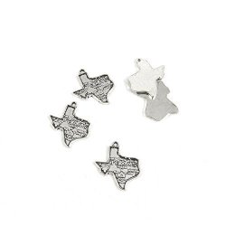 Ebemallmall 20 Pieces Antique Silver Tone Jewelry Making Charms B5QZ5 Texas Map Tags Pendant Ancient Findings Craft Supplies Bulk Lots