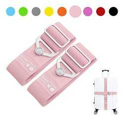 Elastic Luggage Straps Galopar Suitcase Belt Adjustable Luggage Strap Travel Accessories Holiday ESSENTIALS-2 Pack Pink