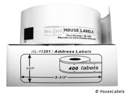 """HouseLabels 32 Rolls 400 Labels Per Roll Of BrOther-compatible DK-1201 Address Labels 1-1 7"""" X 3-1 2"""" 29MM90MM - Bpa Free"""
