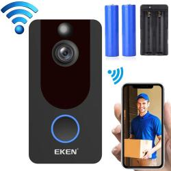 Eken V7 1080P Wireless Wifi Smart Video Doorbell Support Motion Detection & Infrared Night Vision & Two-way Voice Package 1: Doorbell + 2 X 18650 Batteries + Dual Slots Battery Charger Black