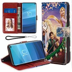 Disney Collection Wallet Case With Strap Compatible For Samsung Galaxy S10+ 6.4INCH 1440X1280 Disney Cartoon Rapunzel Tangled Faddish