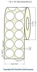 """Durafast Inkjet High Gloss Roll-fed Paper 1"""" Circle 2 Across Labels For Epson TM-C7500 TM-C7500G Primera LX900 LX1000 LX2000 And Other Printer Brands 4000"""