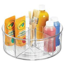Mdesign Deep Plastic Lazy Susan Turntable Storage Organizing Container - Divided Spinning Organizer For Craft Sewing Art School