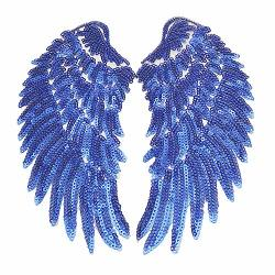 Dandan Diy 1 Pair Colorfull Macaw Sequins Angel Wings Sew On iron On Patch Diy Embroidered Applique Bling Wings For Jackets Cloth Decoration Valentine's Day