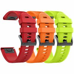 Ancool Compatible With Fenix 5 Bands Easy Fit Soft Silicone Watch Bands Replacement For Fenix 6 FENIX 6 Pro forerunner 935 FENIX 5 Plus Smartwatches Orange Green Red