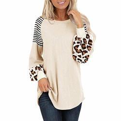 Aniywn Women's Leopard Print Lantern Sleeve Stripe Patchwork Baggy Tops Casual Colorblock Tunic Blouse Beige