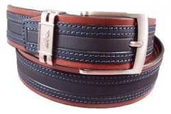 Gp&max Italian Leather Belt -nabuk Collection - 40 Mm - Mod. 4186 - Blue 32-36