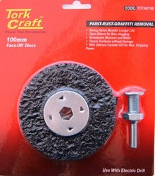Tork Craft Face Off Disc & Arbor 100mm Carded For Drill