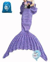 "LAGHCAT Mermaid Tail Blanket Knit Crochet And Mermaid Blanket For Kids Sleeping Blanket 56""X28"" Bigpurple"