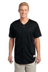 Sport-Tek - Posicharge Tough Mesh Full-button Jersey. ST220 - Black_xl