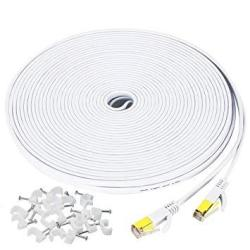 Deals on 50 Ft Ethernet Cable CAT7 Flat Gigabit Network