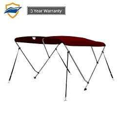 Seamander Bimini Tops For Boats Boat Canopy Cover Top 4 Straps For Front And Rear Includes With Mounting Hardware Burgundy 3 Bow