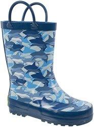 Rainbow Daze Shark-nado Blue Shark Camo Printed Rubber Rain Boots For Kids Size 2 3