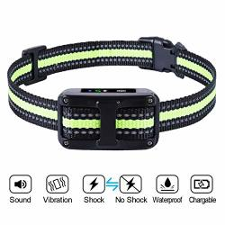 GLOUE Newest 2019 Dog Bark COLLAR-5 Adjustable Sensitivity And Intensity Levels-dual Anti-barking Modes-rechargeable rainproof r